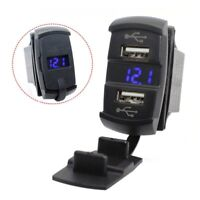2-USB Car Boat Socket Rocker Switch Panel w/ Blue LED Voltage Voltmeter 12V/24V
