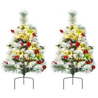 Set of 2 24in Battery Powered Pre-lit Pathway Flocked Christmas Trees Outdoor