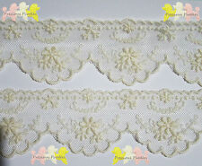 Cream Cotton Embroidered Floral Mesh Lace Trim 4.5 cm wide. By the Metre. Babies