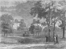 PARK LANE. Entrance to Grosvenor Street from Hyde Park c1780. London c1880