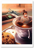 Little Girl Tea Party CUP Fantasy by Cyril Rolando Russian Modern Postcard