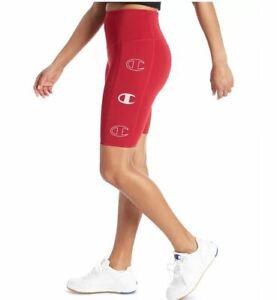 CHAMPION Double Dry side pocket logo women's bike shorts -Cranberry red-LARGE