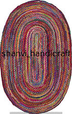 Braided Cotton Oval Rug Multi Color Carpet Bohemian 2x3 Feet Decorative Rug Mats