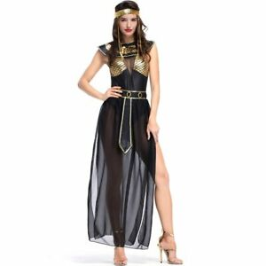 Sexy Golden Egypt Egyptian Queen Cleopatra Costume Women Adult Fancy Party Dress