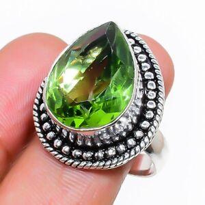 Peridot Gemstone Handmade 925 Sterling Silver Jewelry Ring Size 8