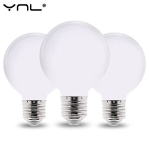 A+ Round White Glass Modern LED Frosted E27 Bulb Globe Soft Opal Warm Light