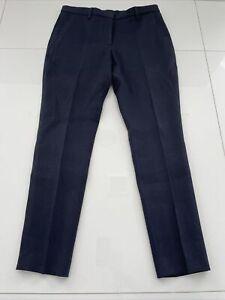 BURBERRY Blue Wool Flat Front Pants 42/8