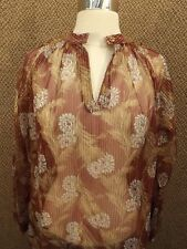 NOS NEW Vtg 70s Wine Gold Sheer Nylon Metallic Floral Shirt 12 Boho Indie Raglan