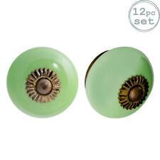 Ceramic Door Knobs Cabinet Drawer Luxury Handle Set, Green - x12