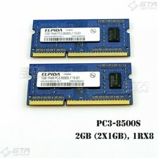 2GB (2X1GB) Elpida Laptop Memory Ram 1Rx8 PC3-8500S DDR3-1066 EBJ10UE8BDS0-AE-F
