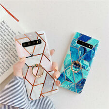 Ring Kickstand Holder Plating Marble Phone Case For Samsung S10e S10 S9 S8 Plus