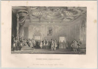 1870s Steel Engraving - Napoleon's Throne Room at Fontainbleau -France French
