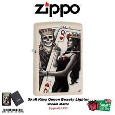 Zippo Skull King Queen Beauty Lighter, Cream Matte #29393