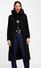 Zara Woman Black Long Black Tweed Boucle Coat Size S Frayed Timeless