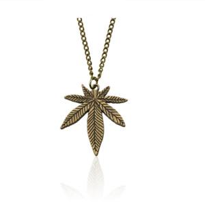 NEW Cannabis Weed Leaf Bronze Necklace - Pot Ganja Marijuana Chain Pendant 420
