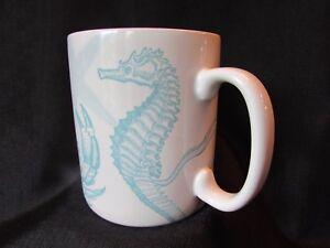 NEW 222 Fifth Coastal Life Blue Jumbo Coffee Mug Seahorse Crab Octopus