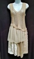 RYU Womens L Knit Mixed Media Beige Art Abstract Soft Sleeveless Dress