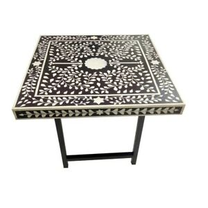 Handmade Bone Inlay Table Coffee / Center Table Iron Legs Beautifully Home Decor