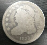 1835 Capped Bust Dime About Good AG Details Scratch Cheap Hole Filler