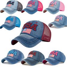 0Women American Flag Rhinestone Jeans Denim Baseball Adjustable Bling Hat Cap