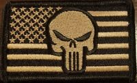 United States Flag Patch Iron-On Black & White USA Tactical The Punisher  #3