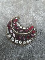 Vintage Old Curved 70s 60s Brooch Gold Tone Red Diamante