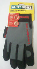 2 Pairs Safety Works Mesh Fabric Multi-Purpose Reinforced Thumb Pad Gloves Large