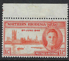 NORTHERN RHODESIA : 1946 Victory 1 1/2d red-orange perf  13 1/2   SG46a MNH
