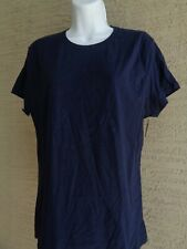 Womens Hanes XL  Cotton S/S Crew Neck Tee Shirt Navy