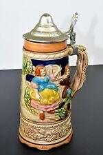 """Vintage German Replica Musical Beer Lidded Stein 10"""" Music Box needs repair"""