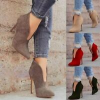 Women's Pointy Toe High Stiletto Heels Ankle Boots Shoes V Pattern Cut Out Sexy