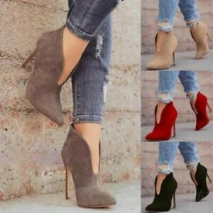 Women's High Stilettos Heels Pointed Toe Ankle Boots Suede Fabric Shoes Slip On