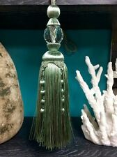 """12"""" Faceted Glass Crystal Tassel Curtain Tieback Sctb-16/39-4 (Green & Taupe)"""