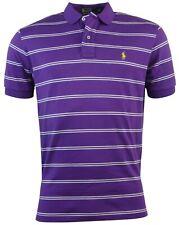 Polo Ralph Lauren Men's Classic Fit Striped Interlock Polo Shirt-Purple-Small