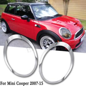 Pair Chrome Headlight Lamp Trim Ring Cover For 07-15 BMW Mini Cooper R55 R56 R57