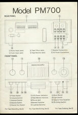 Rare Marantz PM 700 Stereo Amplifier Front/Rear Panel ID Specs Block Diagram