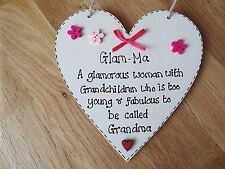 Glam-Ma quote wooden heart gift Mum Nan, Grandma gift chic plaque fun sign
