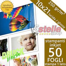 50 FOGLI CARTA FOTOGRAFICA 10X21 FOTO GLOSSY LUCIDA 250 GR. PER STAMPANTI INKJET