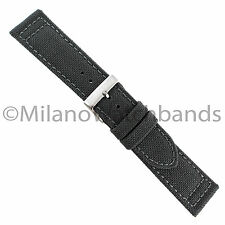 22mm Hadley Roma Gray Genuine Cordura Canvas Padded Stitched Mens Watch Band 850