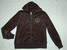 JR WOMENS BLACK Studded PEACE SIGN Hoodie Jacket Ribbed Waist VELOUR M 7-9