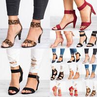 Women's Ankle Strap Slingback Sandals Block High Heel Peeptoe Party Shoe Heels