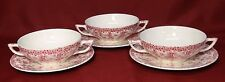 Crown Ducal Early English Ivy (Joy) Pink Cream Soup Bowls w/Liners Dishes- NICE!