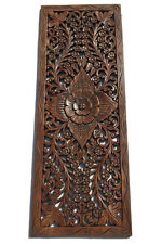 Asian Carved Wood Wall Decor Panel Fl Art Brown 35 5 X13