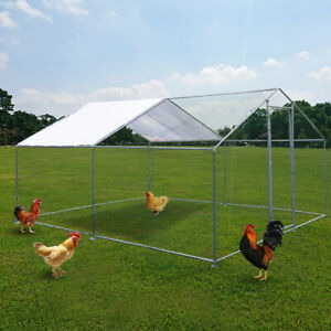 Metal Chicken Coop Large Walk In Poultry Cage Hen Run House Rabbits Habitat Cage