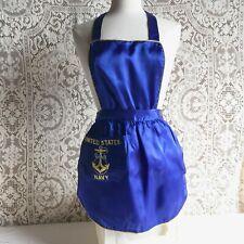 Vintage U.S. Navy Insignia Blue Satin Bib Apron