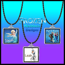 Personalised Frozen Necklace - With Name - Gift Idea in Bag - 45cm PU Leather