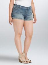 Torrid Skinny Short Shorts Light Wash W/ Frayed Rolled Hem 14 #21724