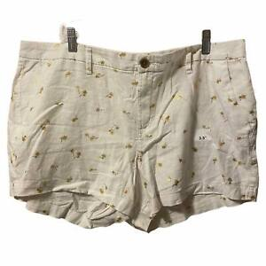 Old Navy Cream Gold Palm Tree Everyday Linen Blend short Size 16 NWT