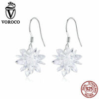 Voroco S925 Sterling Silver Stud Earrings Snowflake Charm CZ For Women Jewelry