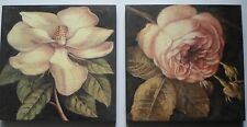 shabby chic block wall mount print flowers roses pretty floral picture